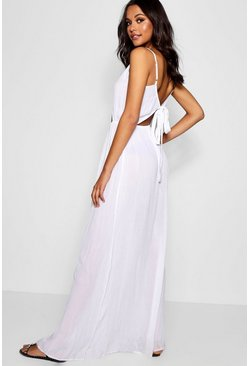 Womens White Tall Cut Out Detail Tie Back Maxi Dress
