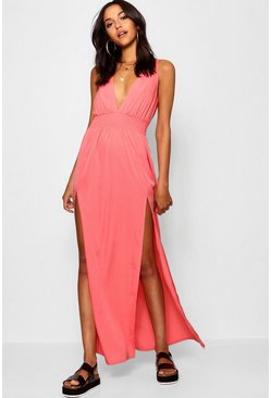 Womens Baked coral Tall Shirred Split Front Maxi Dress