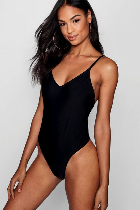 Womens Black Tall Kiara Scoop Back Strappy Swimsuit