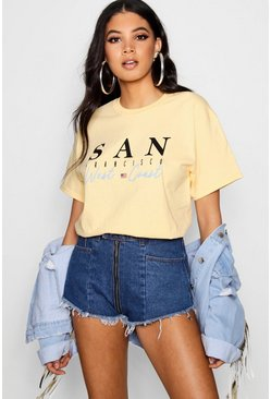 Womens Yellow Tall  San Francisco Slogan Tee