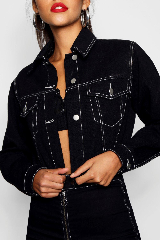 negro Denim corta Tall en con Chaqueta costuras en contraste 5wq7HS8