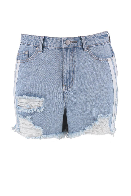 Pantalones Denim claro azul Tall en cortos rayas con deportivas rEarqB
