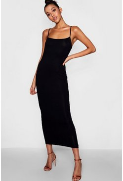Womens Black Tall Jersey Square Neck Maxi Dress
