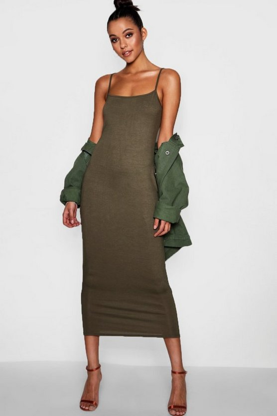 Womens Khaki Tall Jersey Square Neck Maxi Dress