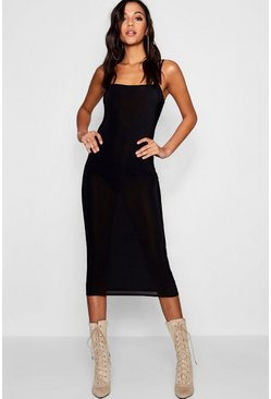 Womens Black Tall Square Neck Midi Dress