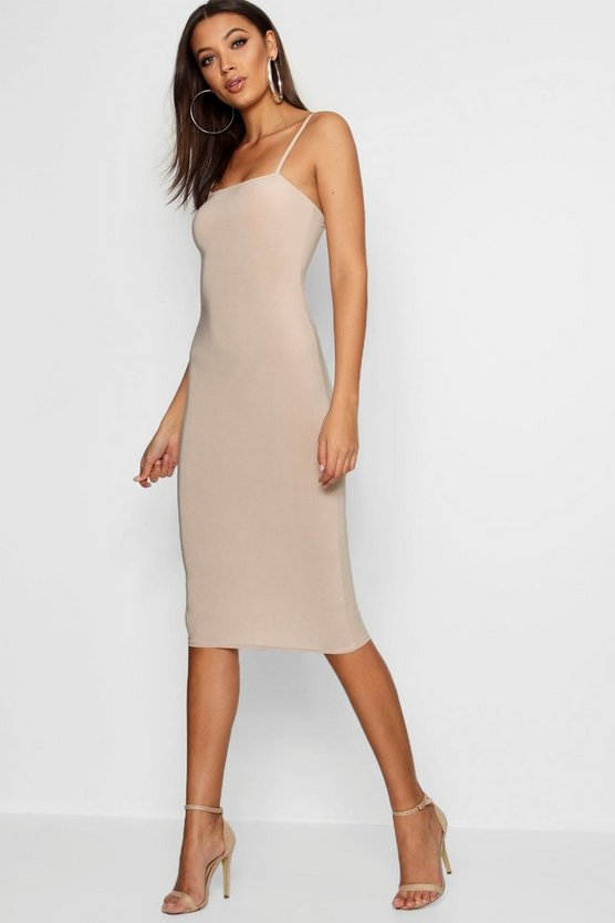 Womens Sand Tall Square Neck Midi Dress