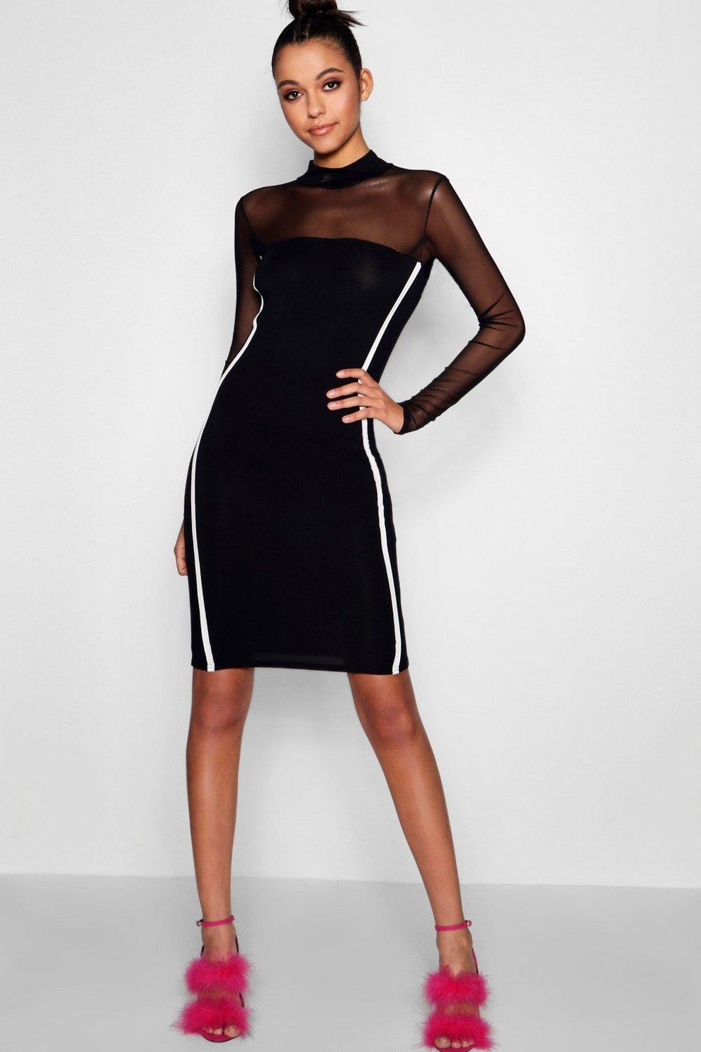 3727faf7fd5aa Womens Black Tall Mesh Sports Stripe Bodycon Dress