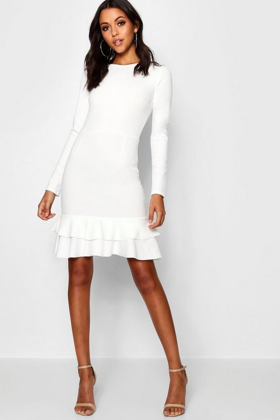 Womens Ivory Tall Ruffle Hem Dress