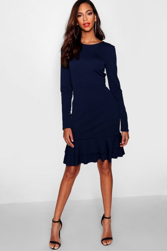 Womens Navy Tall Ruffle Hem Dress