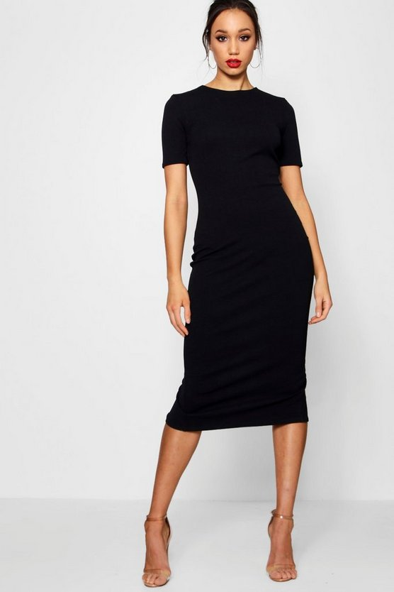 Womens Black Tall Short Sleeve Tailored Midi Dress