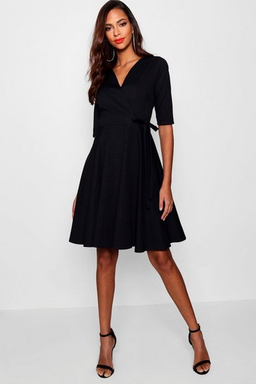 Black Tall  Wrap & Skater Dress