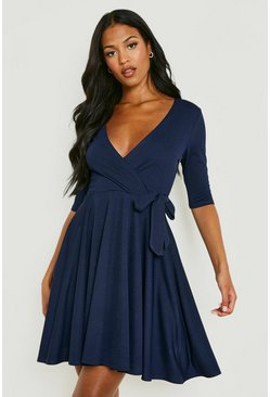 Tall Wrap & Skater Dress, Navy, DAMEN
