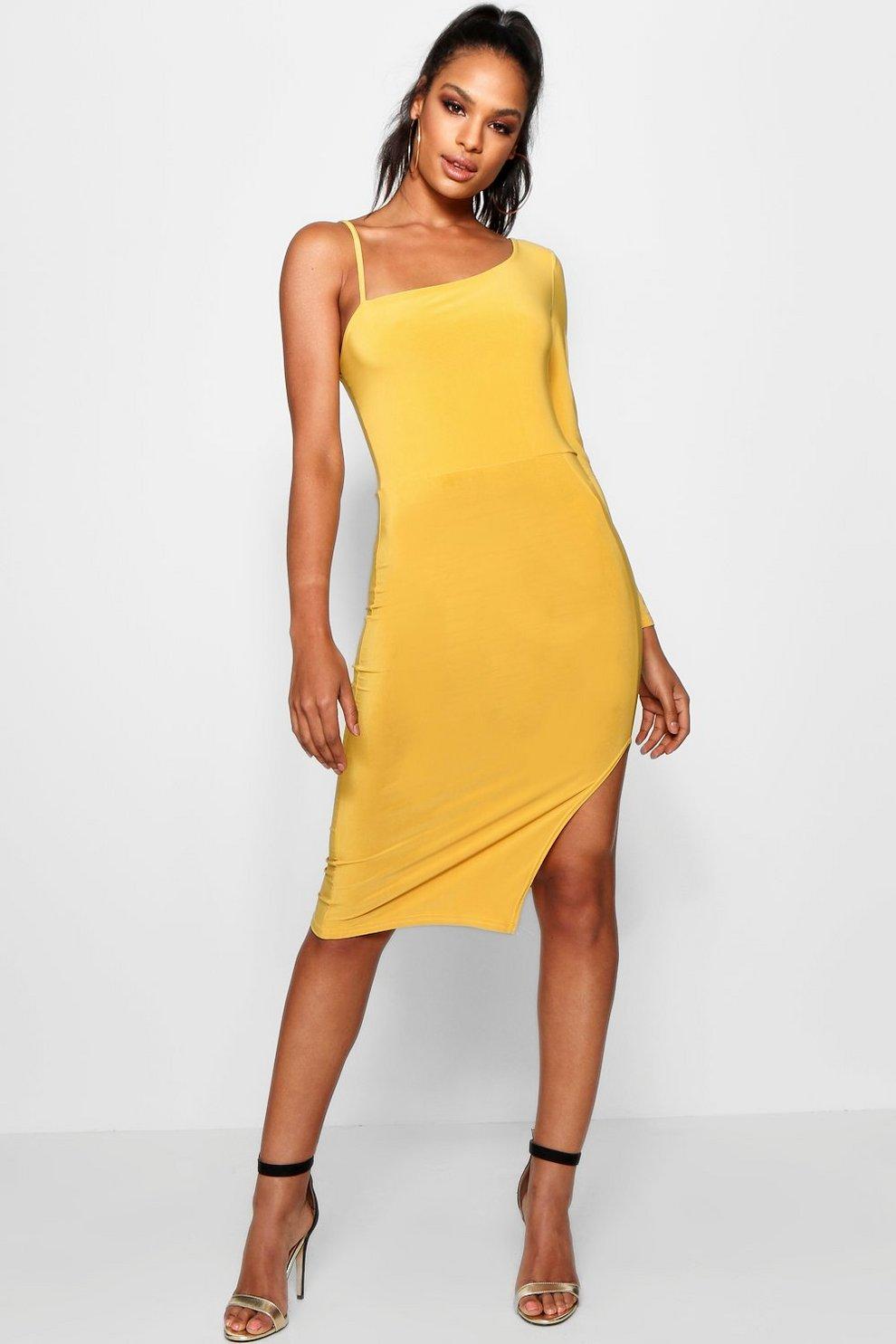 ab43b15db522 Womens Amber Tall One Shoulder Split Midi Dress