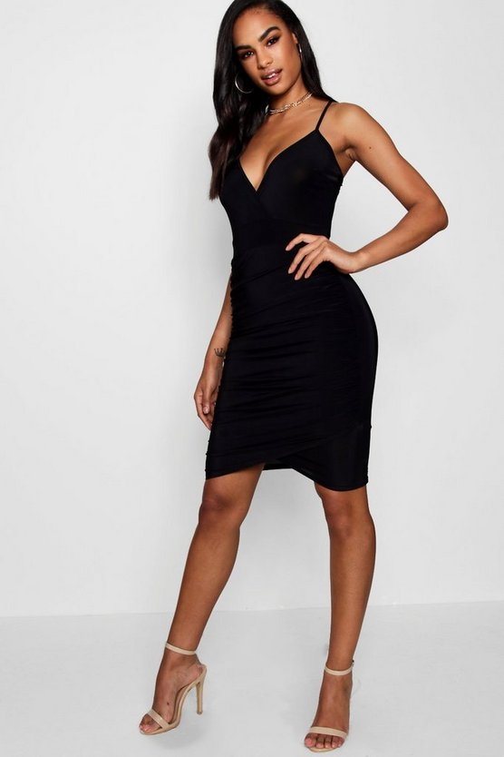 Black Tall Ruched Side Slinky Mini Dress