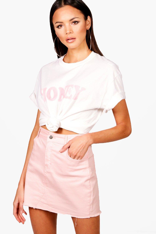 Boohoo Womens Tall Yasmin Honey Slogan Pastel T Shirt Ebay