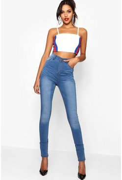 Mid blue Tall High Rise 5 Pocket Skinny Jeans