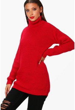 Womens Red Tall Roll Neck Jumper