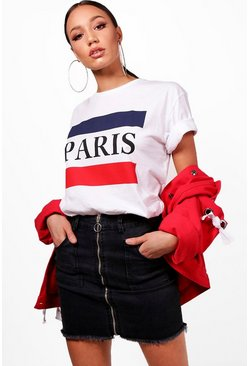Tall T-Shirt mit Paris-Slogan, Weiß, Damen