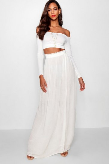 Womens Ivory Tall Woven Shirred Waist Maxi Skirt