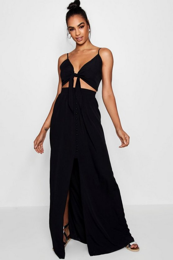 Womens Black Tall Tie Front Top + Maxi Skirt Co-ord
