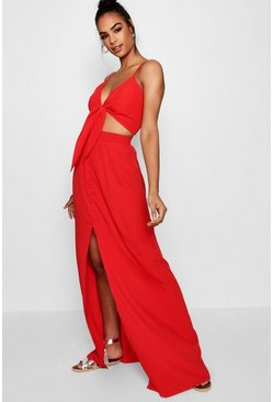 Womens Red Tall Tie Front Top + Maxi Skirt Co-ord