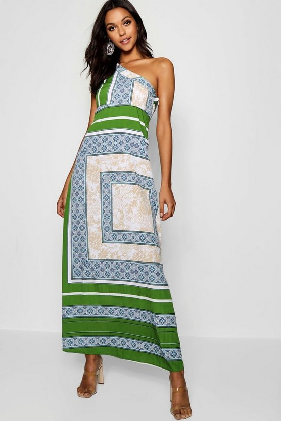 Tall One Shoulder Scarf Print Maxi Dress