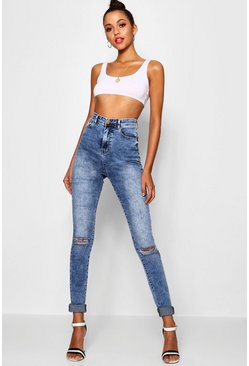Womens Blue Tall Ripped Knee Turn Up Jeans