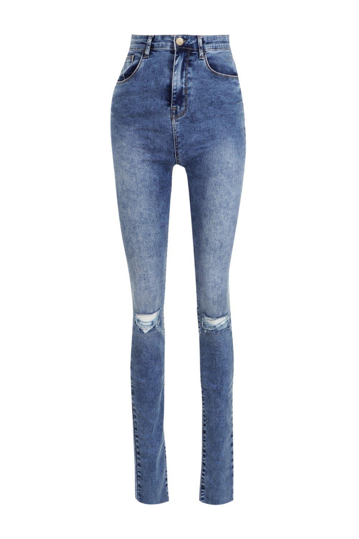 Tall de azul Rippped Jeans Knee remangados nqw7InBEx
