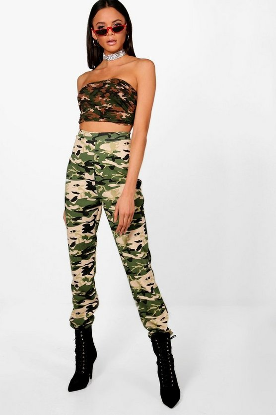 Tall Camo Print Cargo Trousers by Boohoo