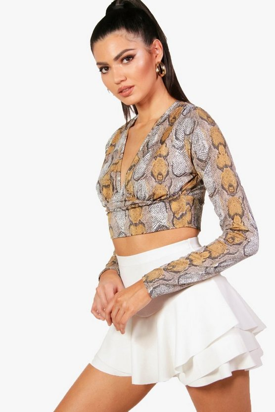 Tall Ally Snake Print Plunge Crop Top