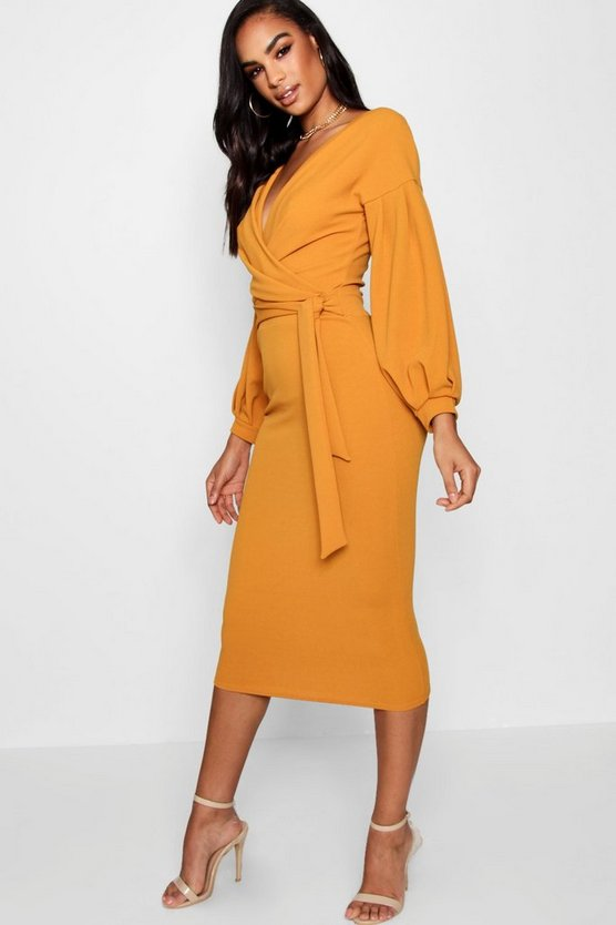 Womens Amber Tall Off The Shoulder Wrap Midi Bodycon Dress
