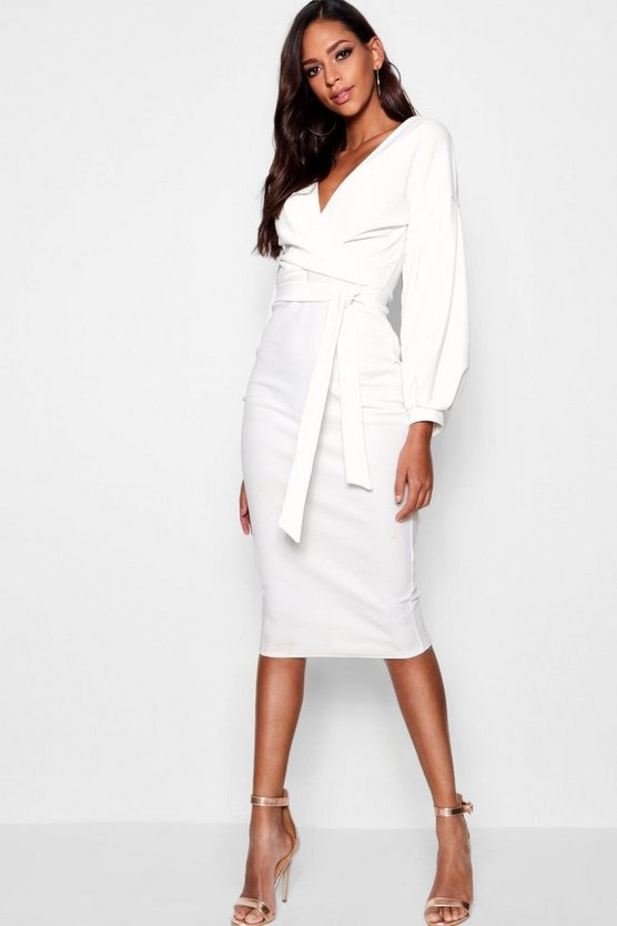 Ivory Tall  Off The Shoulder Wrap Midi Bodycon Dress