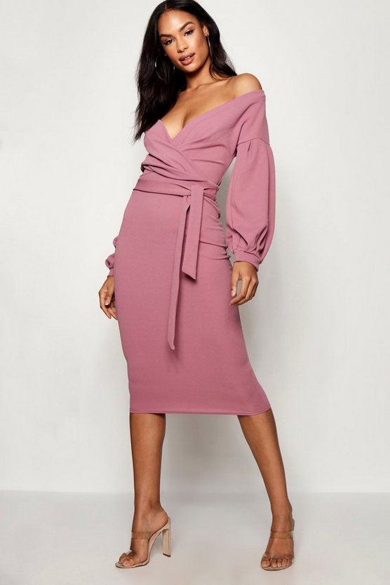 Mink Tall  Off The Shoulder Wrap Midi Bodycon Dress