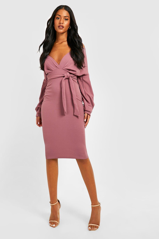 Dress wrap bodycon midi shoulder off the price