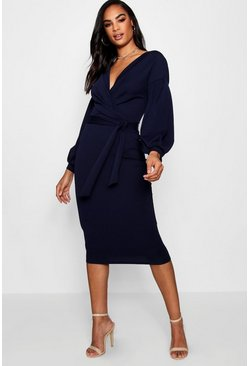 Womens Navy Tall  Off The Shoulder Wrap Midi Bodycon Dress