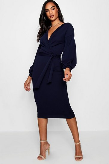 Navy Tall  Off The Shoulder Wrap Midi Bodycon Dress