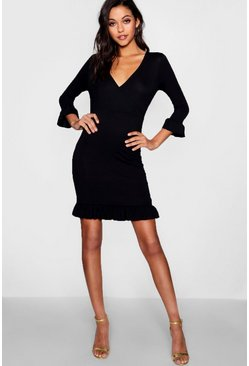 Womens Black Tall Ruffle Jersey Tea Dress