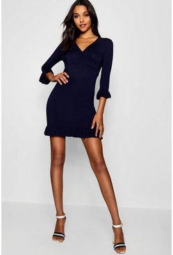 Womens Navy Tall Ruffle Jersey Tea Dress