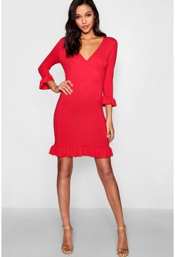Womens Red Tall Ruffle Jersey Tea Dress