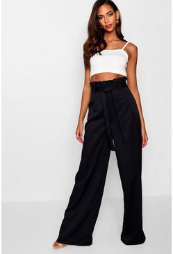 Womens Black Tall  Paperbag Waist Trousers
