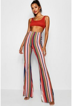 Womens Green Tall Stripe Flares