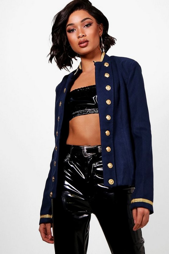 Womens Navy Tall Military Crop Jacket