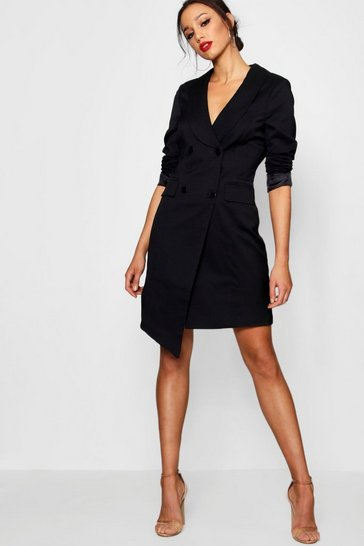 Black Tall  Wrap Asymmetric Blazer Dress