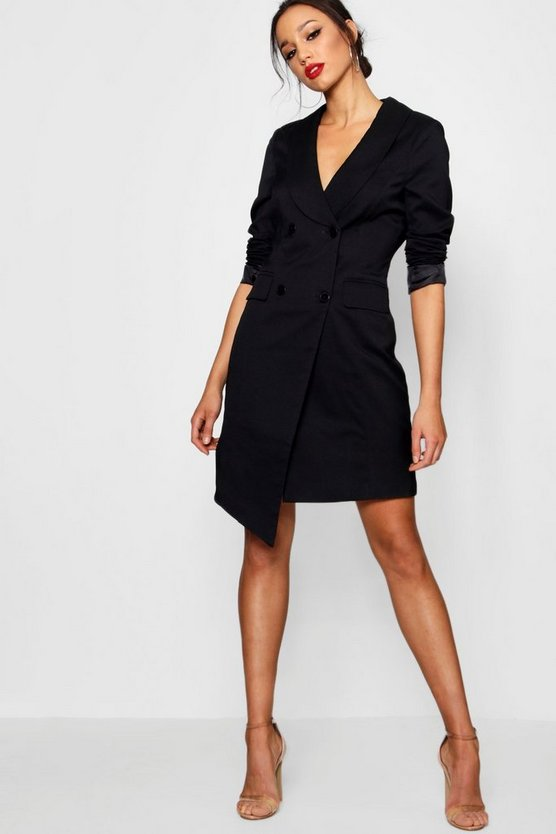 Womens Black Tall Wrap Asymmetric Blazer Dress