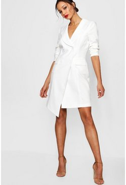 Ivory Tall  Wrap Asymmetric Blazer Dress