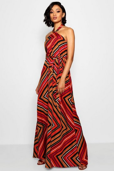 Womens Orange Tall Halter Twist Belted Maxi Dress