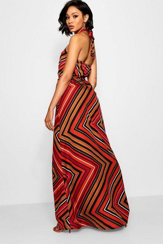 Tall Halter Twist Belted Maxi Dress