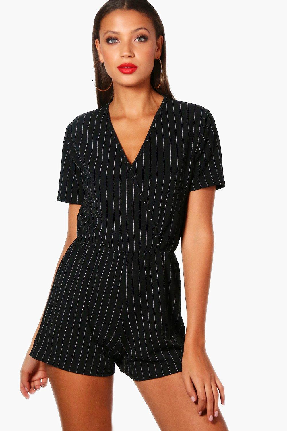 Tall Lily Pinstripe Wrap Playsuit