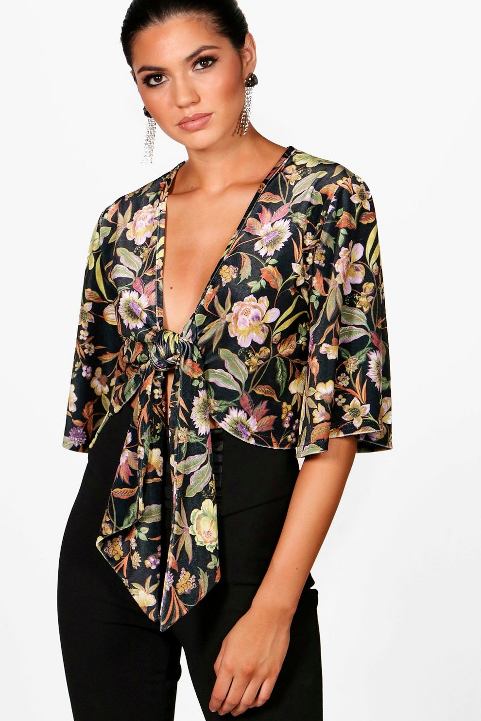 Tall printed floral velvet tie front top boohoo tall printed floral velvet tie front top ccuart Gallery