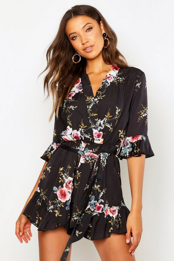 Womens Black Tall  Floral Ruffle Detail Playsuit